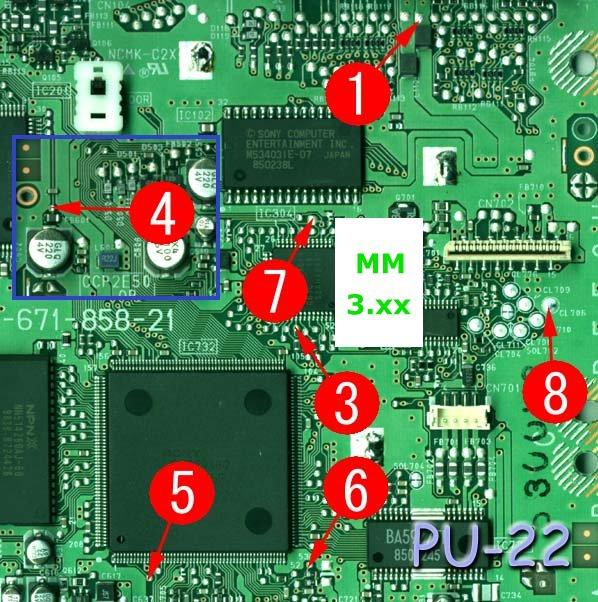 scph  playstation  mm modchip installation pu
