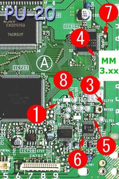 PU-20 MM3 modchip installation diagram