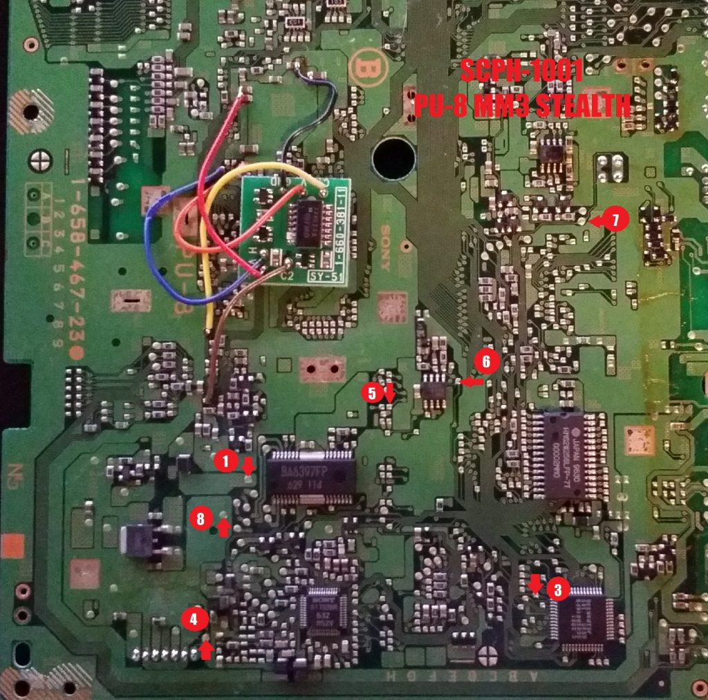 PU-8 MM3 modchip installation diagram