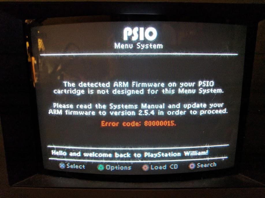 PSIO firmware error