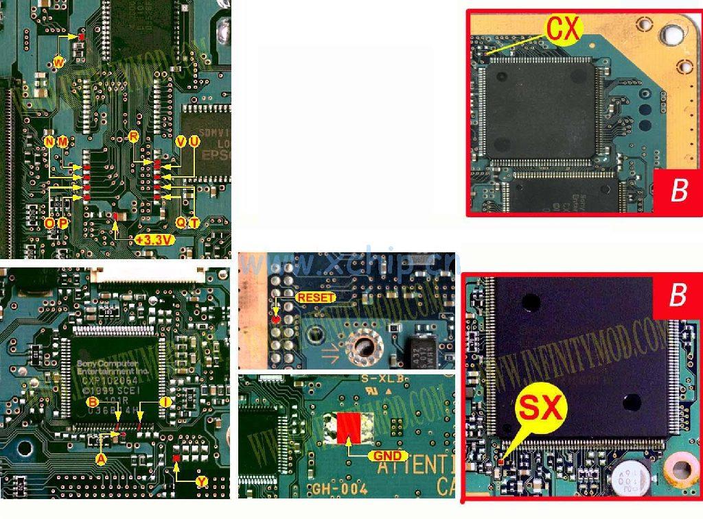 V1 Modbo modchip installation diagram